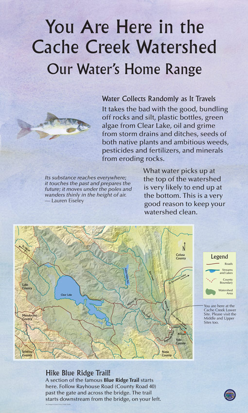 The educational display at Cache Creek Regional Park explains what a watershed is and shows a map of the entire Cache Creek watershed. The watershed and tributaries of Cache Creek flow through Napa, Yolo, Colusa, Mendocino, and Lake Counties.