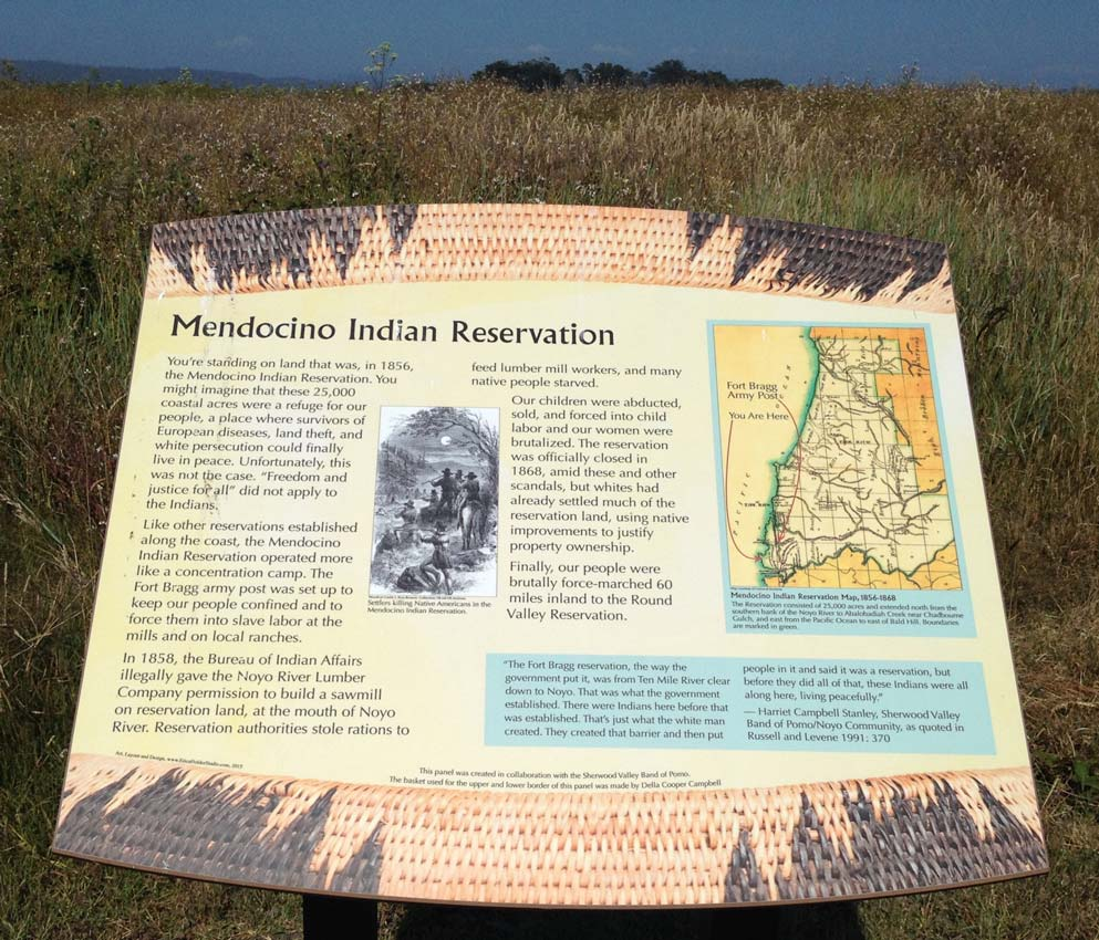 Installed interpretive panel along a section of the California Coastal Trail in Fort Bragg, California.