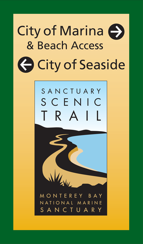 Aluminum directional sign that guides visitors from City of Marina and City of Seaside to beach access.