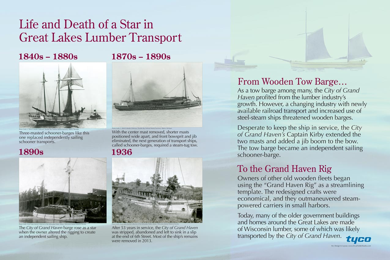 This educational sign, funded by Tyco and the Commonwealth Cultural Resources Group, Inc., WI, explains how the ship, the City of Grand Haven, profited from and then was changed by the lumber industry's growth on the Great Lakes. The Marinette County Historical Logging Museum, Wisconsin, houses models of the City of Grand Haven ship and the George Nelson tugboat, as well as an interpretive display describing early shipping activity