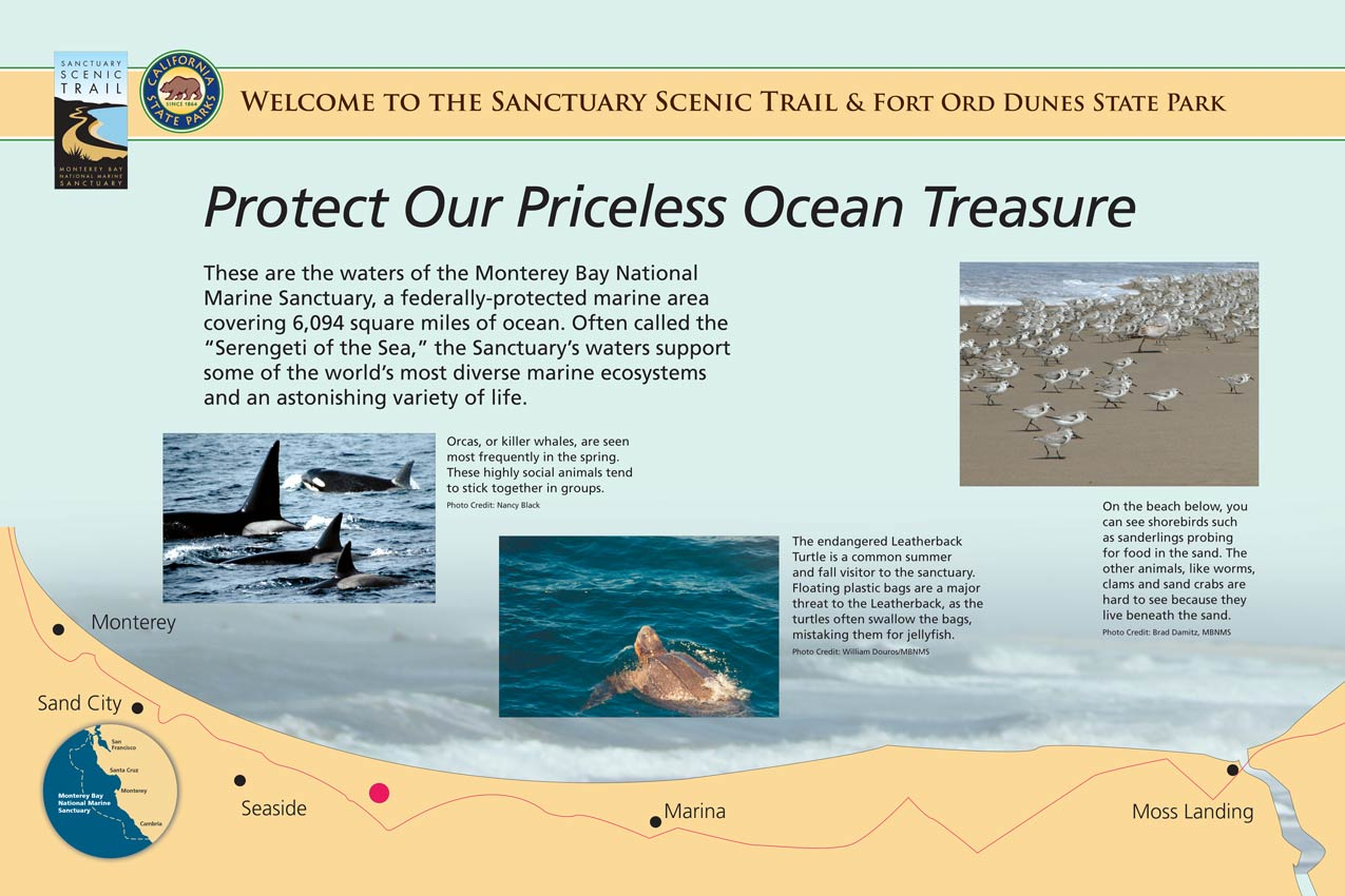 The trailside display explains that here are the waters of the Monterey Bay National Marine Sanctuary, a federally protected marine area covering 6,094 square miles of ocean. The Sanctuary's waters support some of the world's most diverse marine ecosystems and an astonishing variety of life.