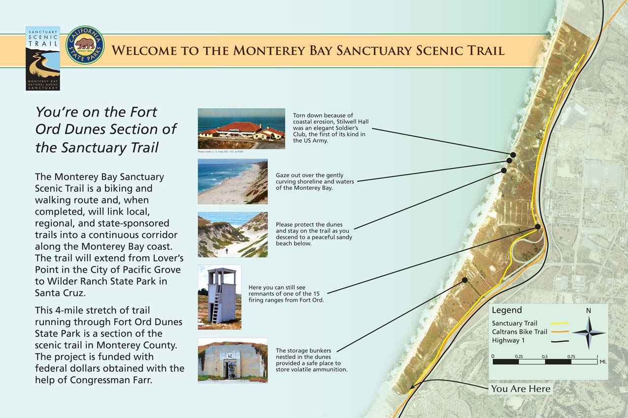 The Monterey Bay Sanctuary Scenic Trail is a biking and walking route and, when completed, will link local, regional, and state-sponsored trails, like the California Coastal Trail, into a continuous corridor along the Monterey Bay coast and beyond. A map on this trailside display shows sights along the way.