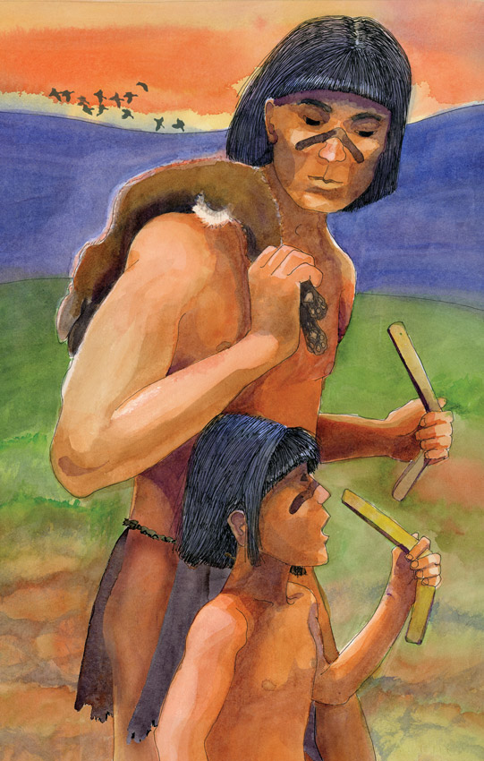 A watercolor illustration showing a hunter and his son returning from a successful hunt holding the boomerangs with which they killed a rabbit. The illustration was created for Acorn Group interpretive panels and for Anza Borrego Desert State Park.