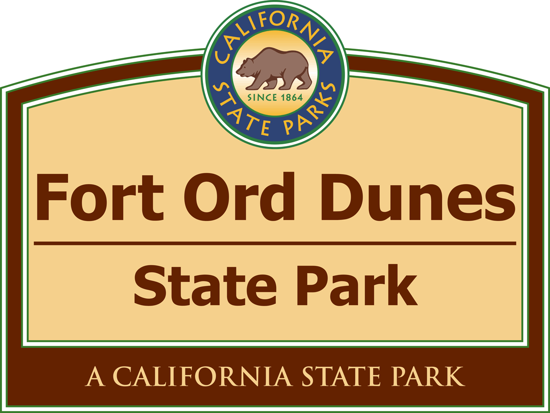 The Fort Ord Dunes State Park branding sign is placed at several entrances to the park.