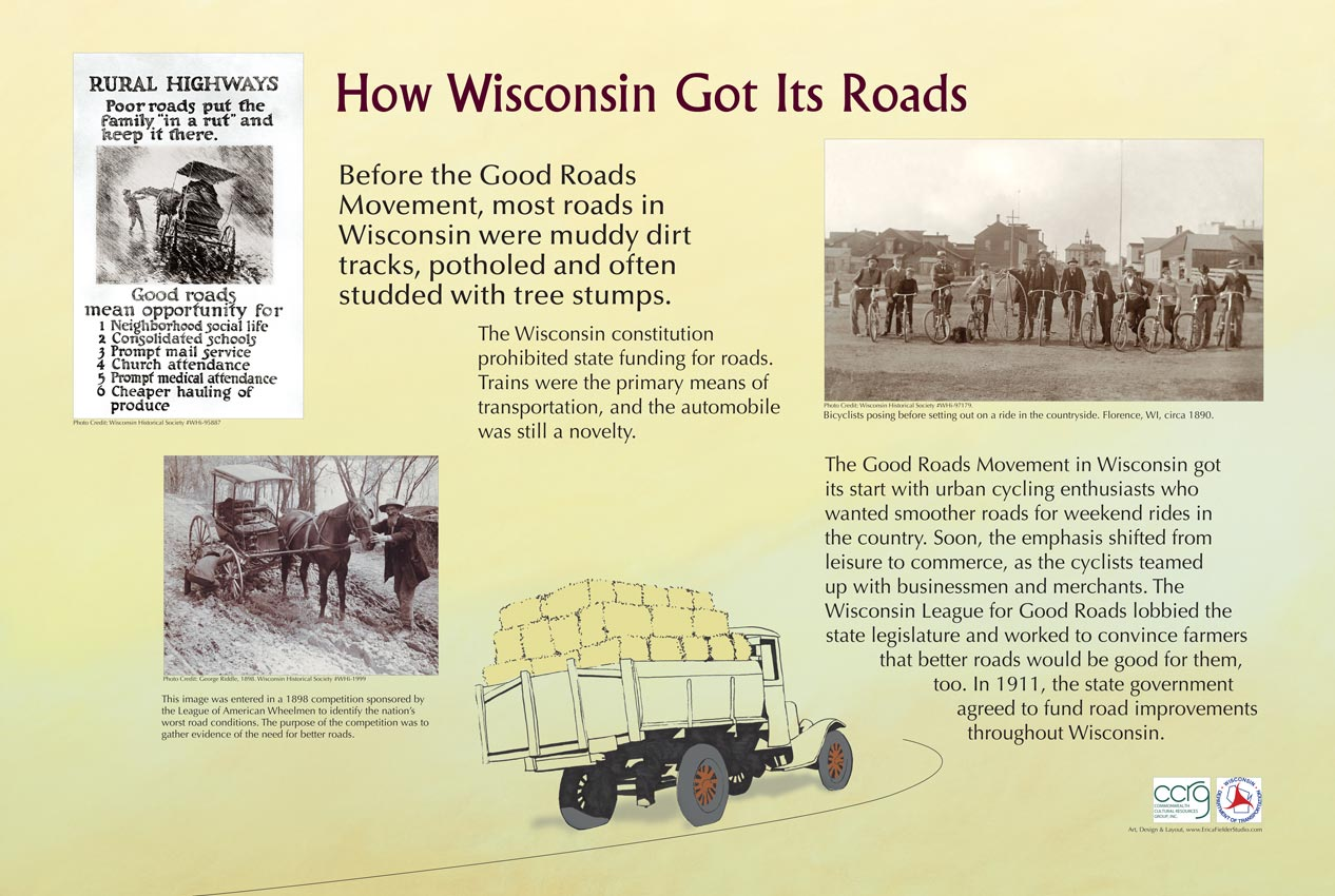 Before the Good Roads Movement, most roads in Wisconsin were dirt tracks and potholes. Urban cycling enthusiasts and the Wisconsin League for Good Roads lobbied the Wisconsin State Government to build roads throughout Wisconsin. This educational sign was funded by the Commonwealth Cultural Resources Group, Inc., and the Wisconsin Department of Transportation.